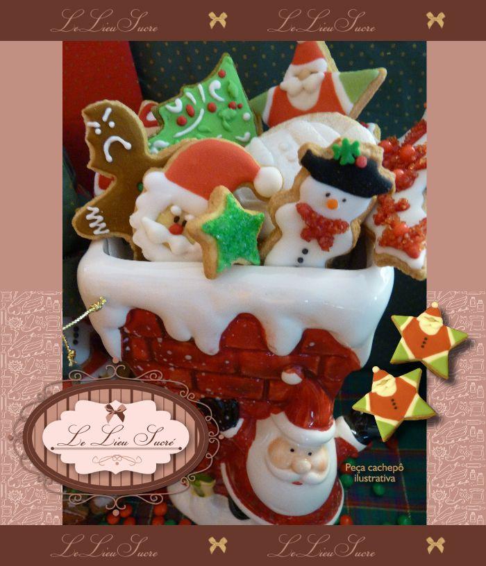 Bolachas personalizadas para o Natal! Por Giselle Minella  NATAL ARTE EM BOLACHAS Sabores sugeridos: Baunilha, chocolate, ovomaltine, canela, nozes e morango.   Encomende pelo blog: www.lelieusucre.com.br