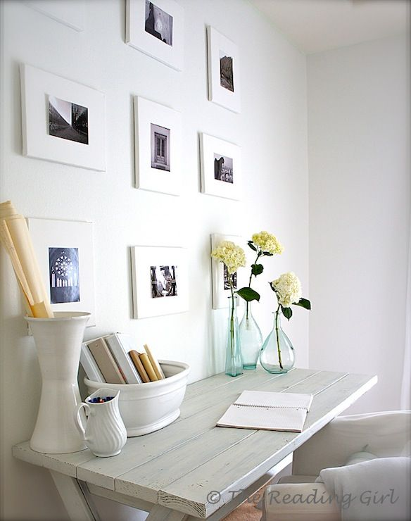 Simple Whitewashed Desk With Ikea Tullsta Chair White Framed