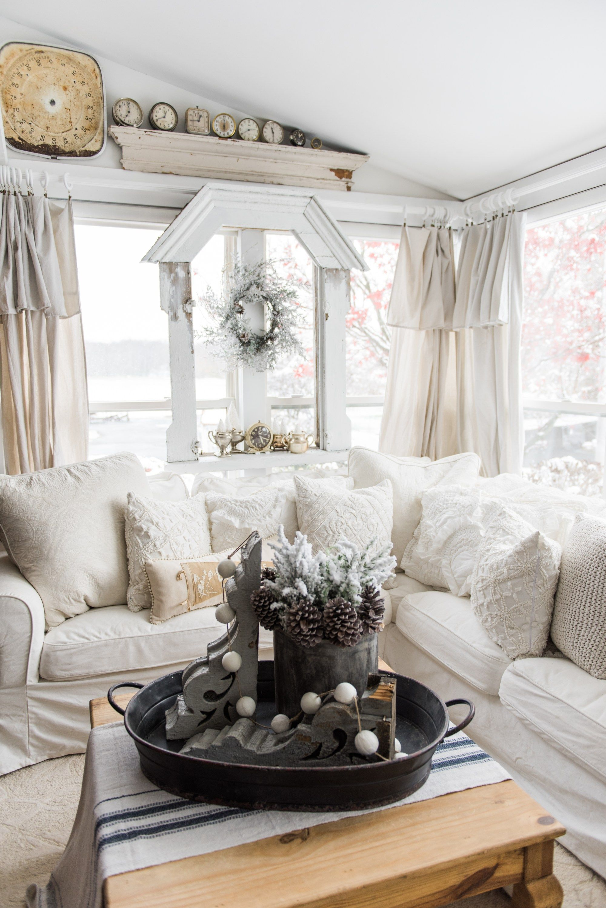 DIY Drop Cloth Curtains In The Sunroom | Home | Pinterest | Cottage ...