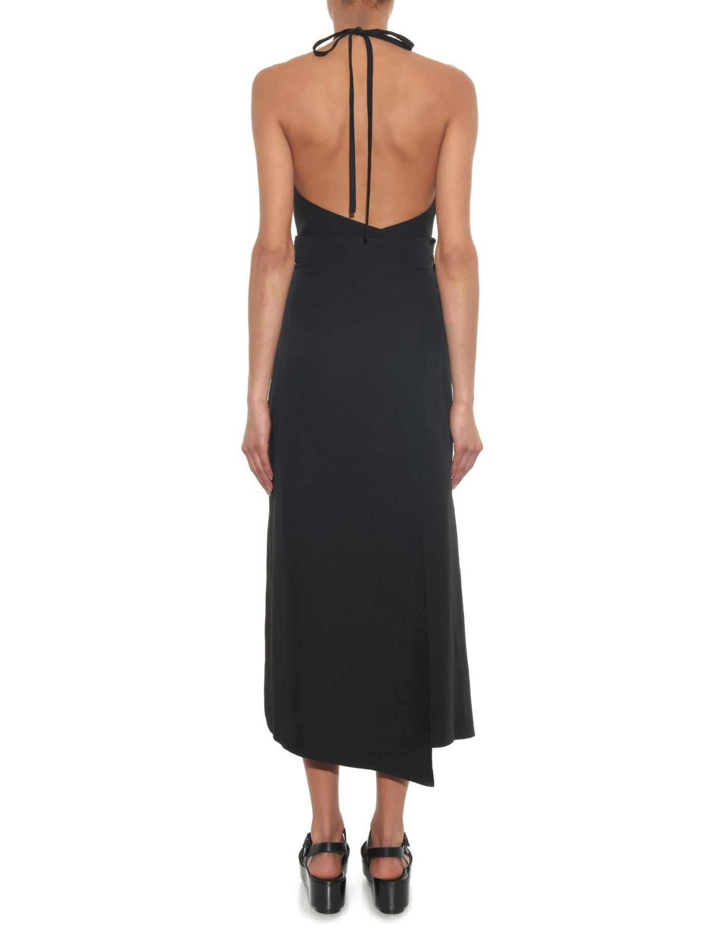 RAEY - £295. Textured backless wrap dress | This streamlined halterneck dress is a summer-ready take on the classic LBD from Raey. It's crafted from a textured fabric and boasts a self-fastening waist tie that chimes with this season's penchant for ladylike proportions. The midi length is best offset by a slight heel or wedge. Raey | MATCHESFASHION.COM UK