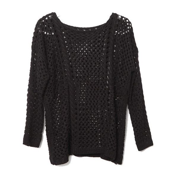 Vintage Black Knitted Pullover With Cut Out Detail ($59) ❤ liked on Polyvore