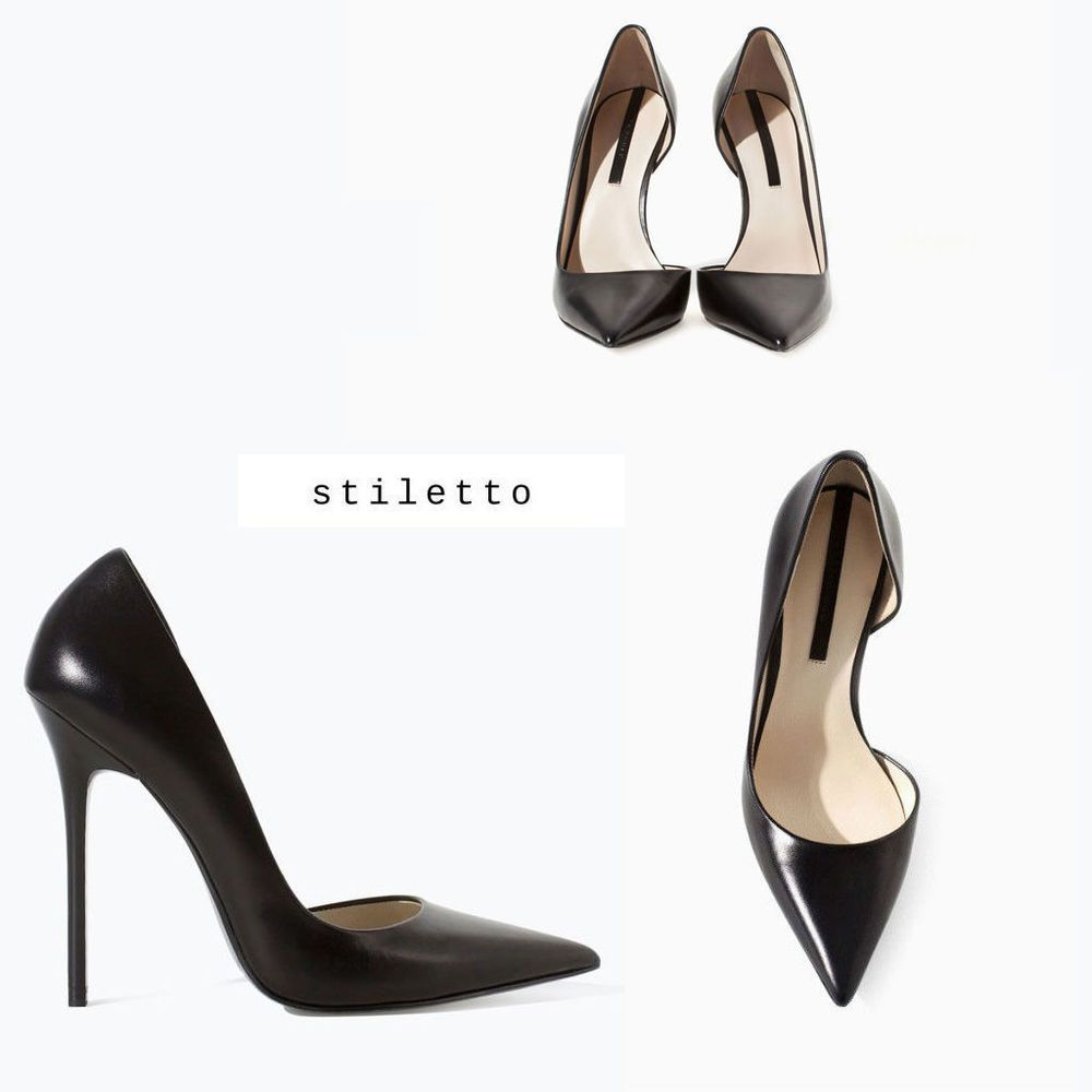 e3dc471a60bc ZARA Woman BNWT Black Asymmetric Leather Court Shoe With Stiletto Heels  1206/301