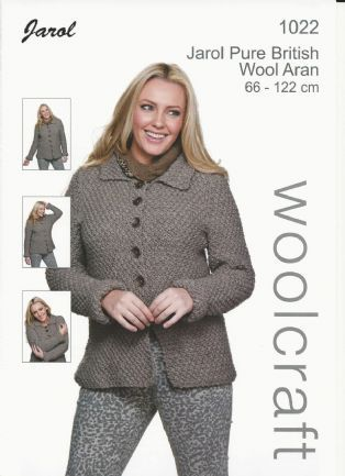 Woolcraft Ladies Moss Stitch Jacket Aran Knitting Pattern (1022 ...
