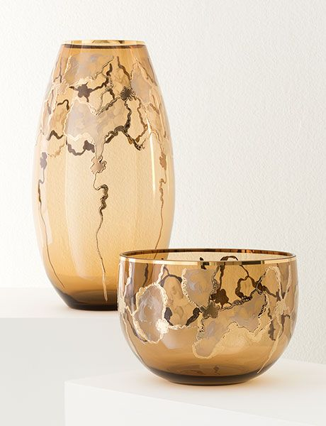 Brown And Gold Glass Vase And Bowl Set Fall 2016 Collection