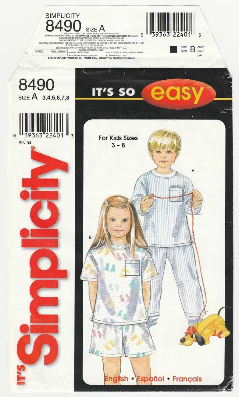 Simplicity 8490 UNCUT Sewing Pattern Children\'s Size: 3 - 4 - 5 - 6 ...