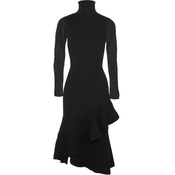 Temperley LondonBrise Ruffled Stretch-knit Turtleneck Dress (12,545 MXN) ❤ liked on Polyvore featuring dresses, black, flutter sleeve dress, flutter-sleeve dresses, ruffle dress, ruffle sleeve dress and print turtleneck