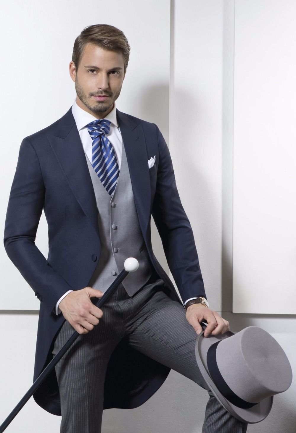 A blue wedding tuxedo for men three piece suits a morning suit ...