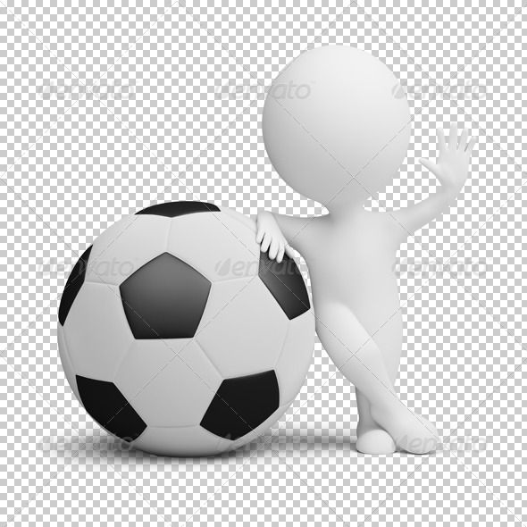 3d Small People Soccer Player Big Ball Alpes Emojis