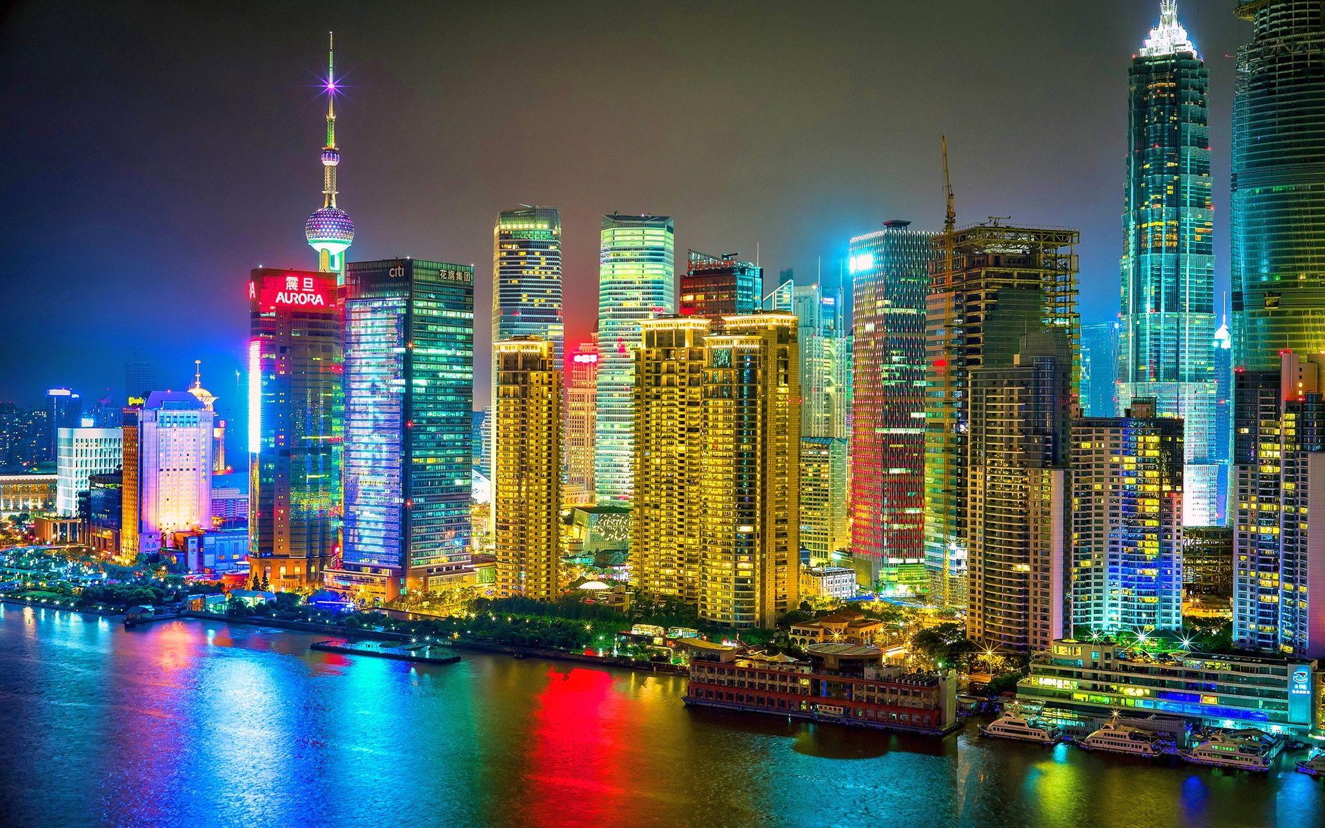 Colorful Shanghai City Night Hd Wallpaper Fotos 1080p Cercas