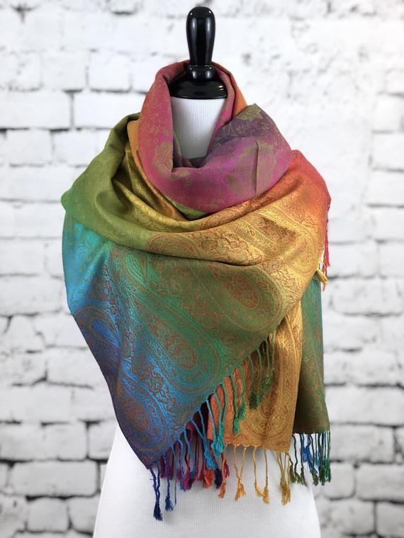 zahlreich in der Vielfalt neue auswahl suche nach authentisch Pashmina Scarf Rainbow Scarf Pashmina Shawl Gift For Her ...