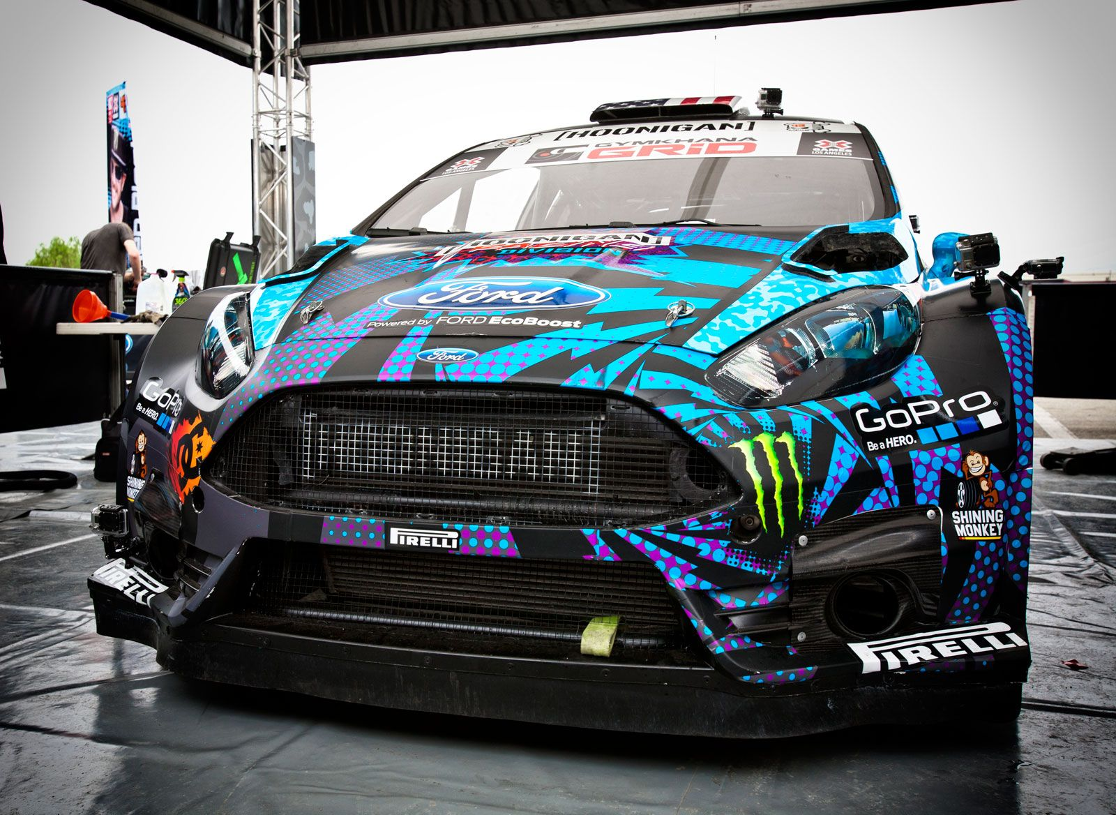 A ken block gymkhana grid ride along and inside look at the hoonigan racing ford fiesta st rallycross car with vehicle breakdown driver interview and