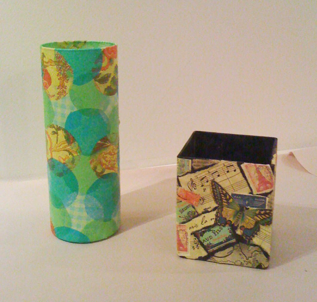 Altered Book Studio Decoupaged Vases With Images