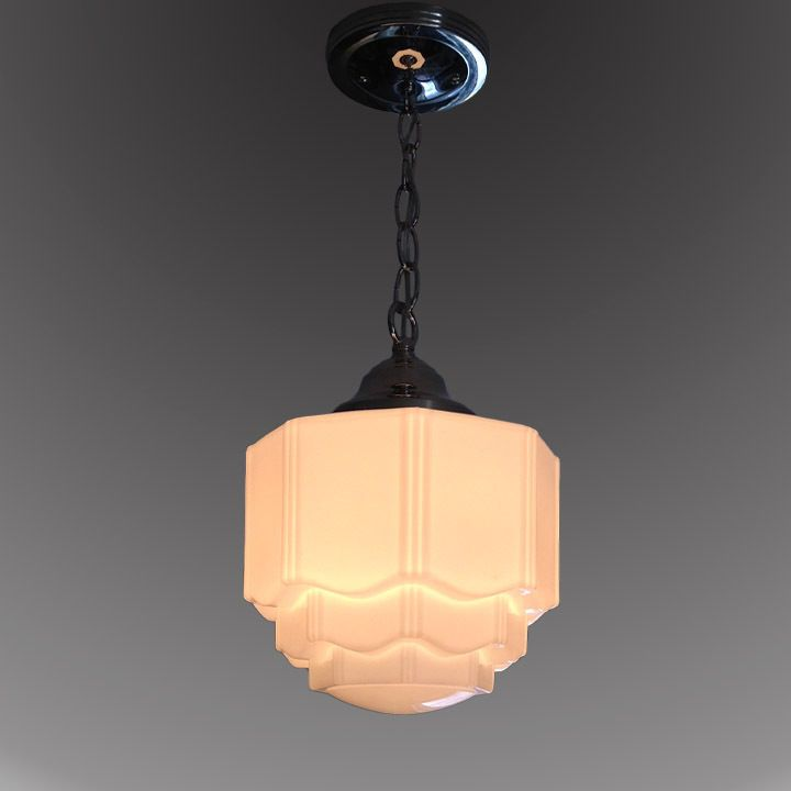 Details About 1930s Milk Gl Ceiling Light Skyser