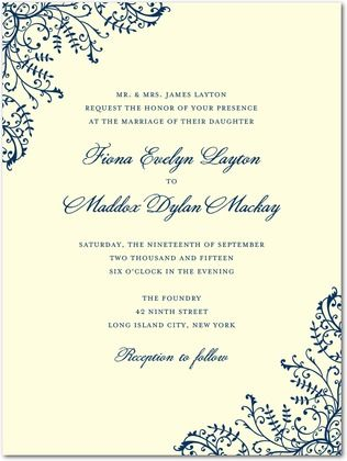 Thermography Wedding Invitations Curling Corners - Front : TH Woodland Green