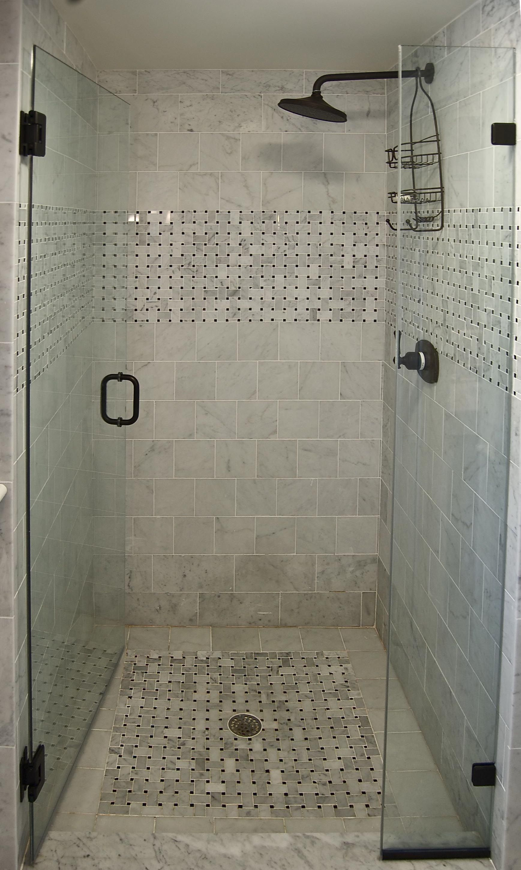 small shower basket weave strip rainshower head single dial control tile ideas - Shower Tile Design Ideas