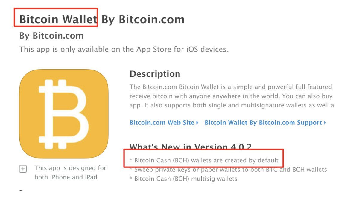 Please report the bitcoin com wallet to the iOS app store
