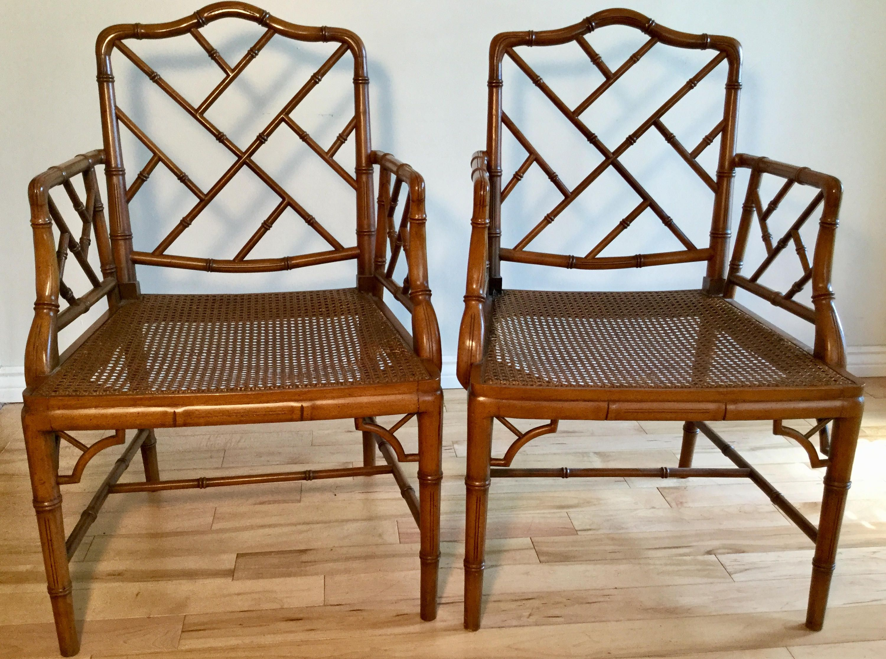 Bamboo chippendale chairs - Faux Bamboo Vintage Chippendale Chairs