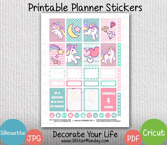 a30f687e8d9dd Unicorn Planner Stickers, Digital Sticker Printables, The Happy ...