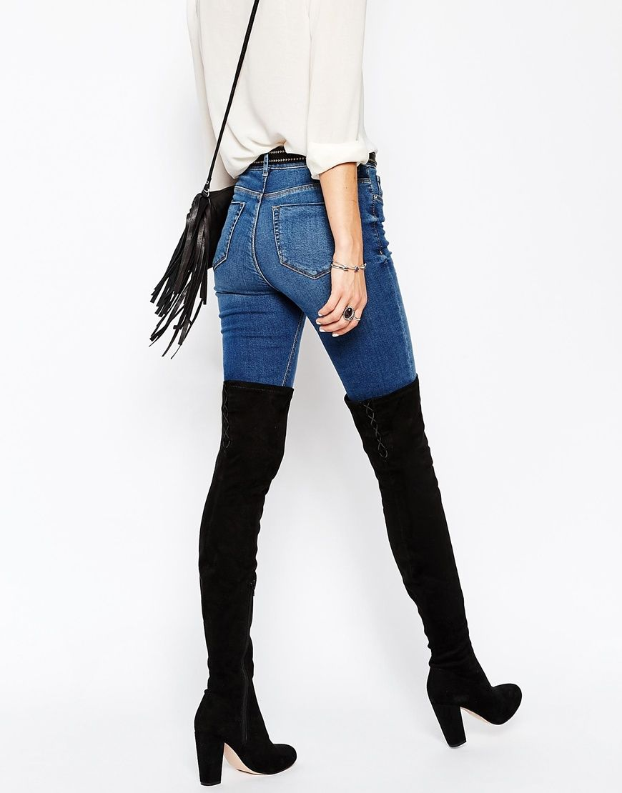 KEY TO MY HEART Lace Up Over the Knee Boots | Knee boots, Black ...