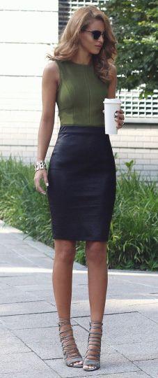 Nada Adelle   spring outfit   leather midi skirt   sleeveless ...