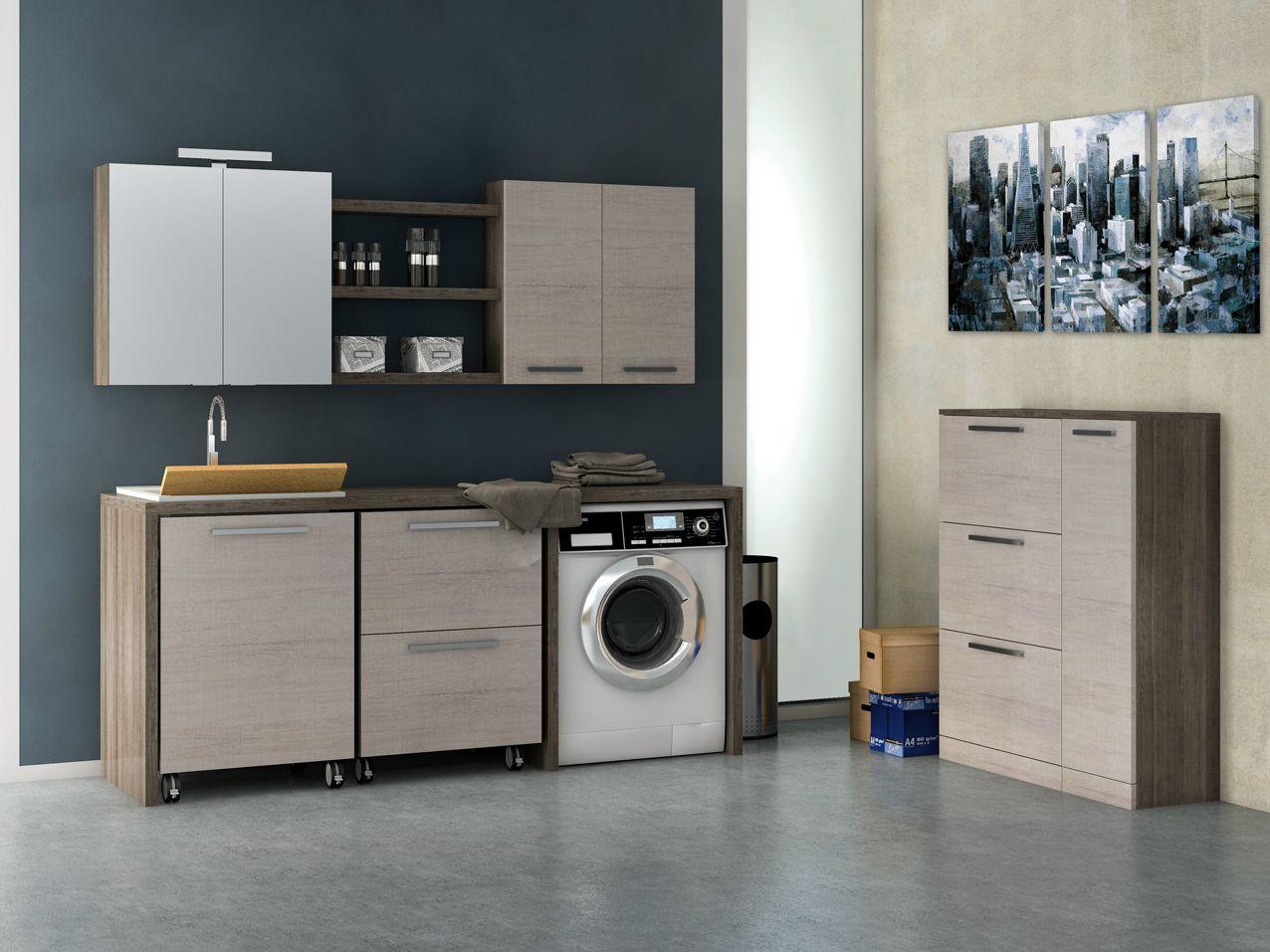 Mobile lavabo per lavatrice in legno in stile moderno con armadio