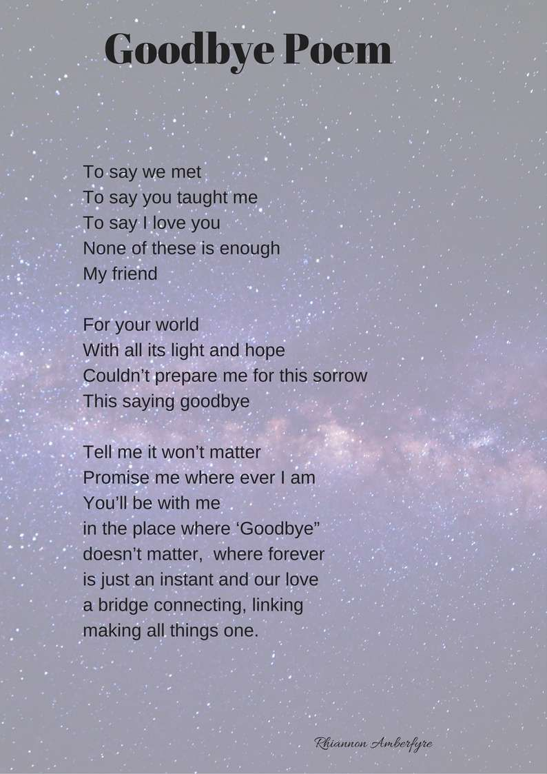 To to poems say friend goodbye a Goodbye Poems