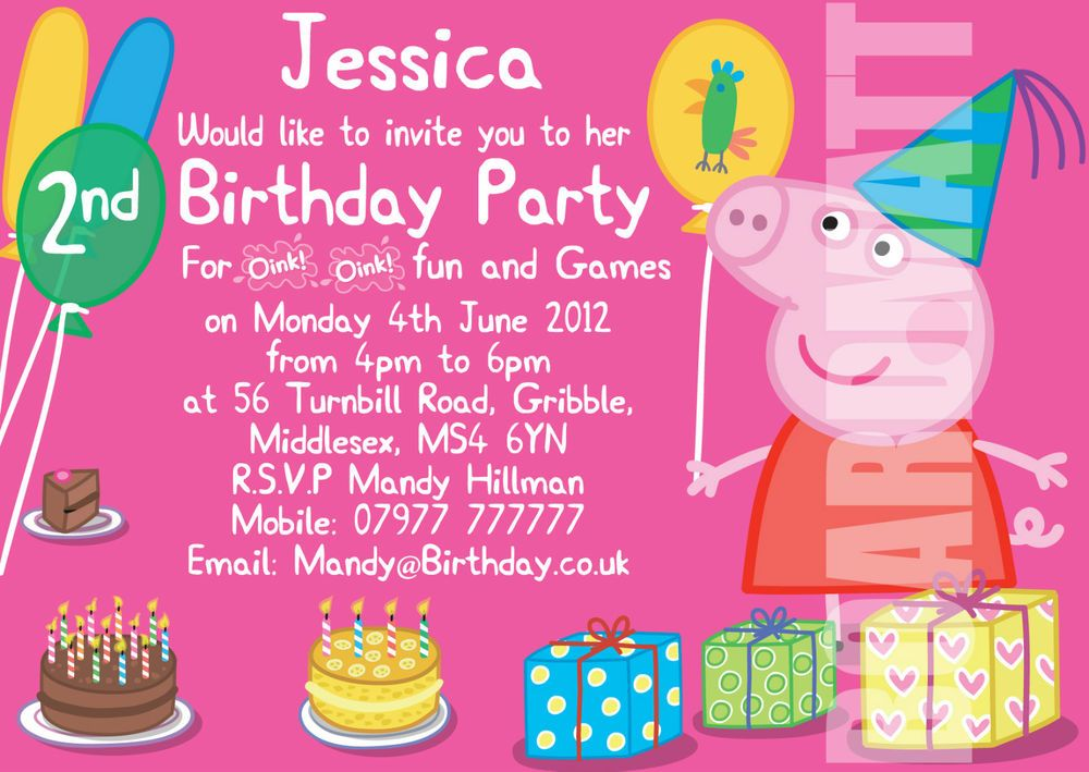 Peppa Pig Personalised Party Invitations x 10 Birthday Invites – Personalised Party Invites