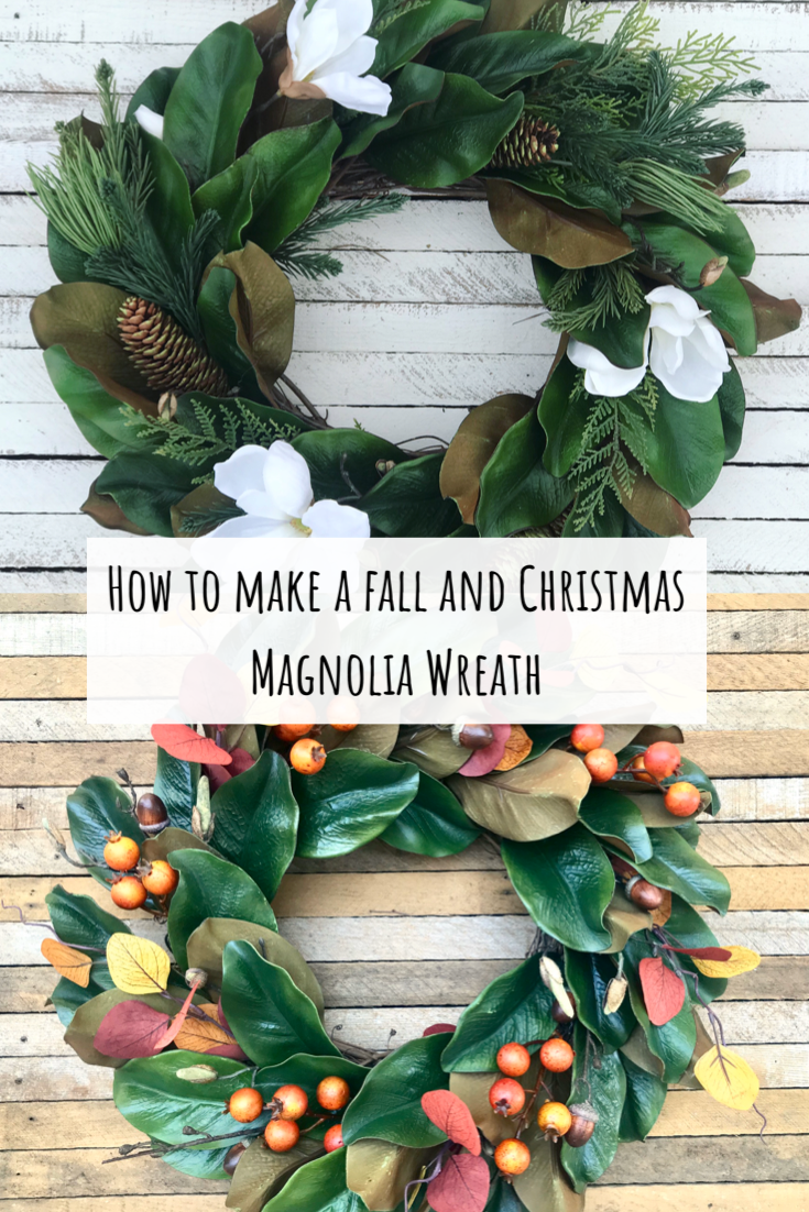 How to make a fall and Christmas magnolia wreath In this video tutorial I teach you how to make a year round magnolia wreath, AND how to turn it into a fall or Christmas wreath! ONE wreath, THREE ways! Get more out of your year round wreath by reusing it for fall and Christmas!