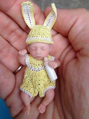 OOAK micro mini Prosculpt polymer clay newborn dollhouse baby 1:12 5 DAYS NR !!