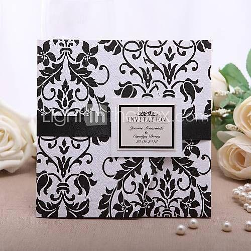 personlig klassisk dekorativt design invitation med sorte bånd (sæt af 50)