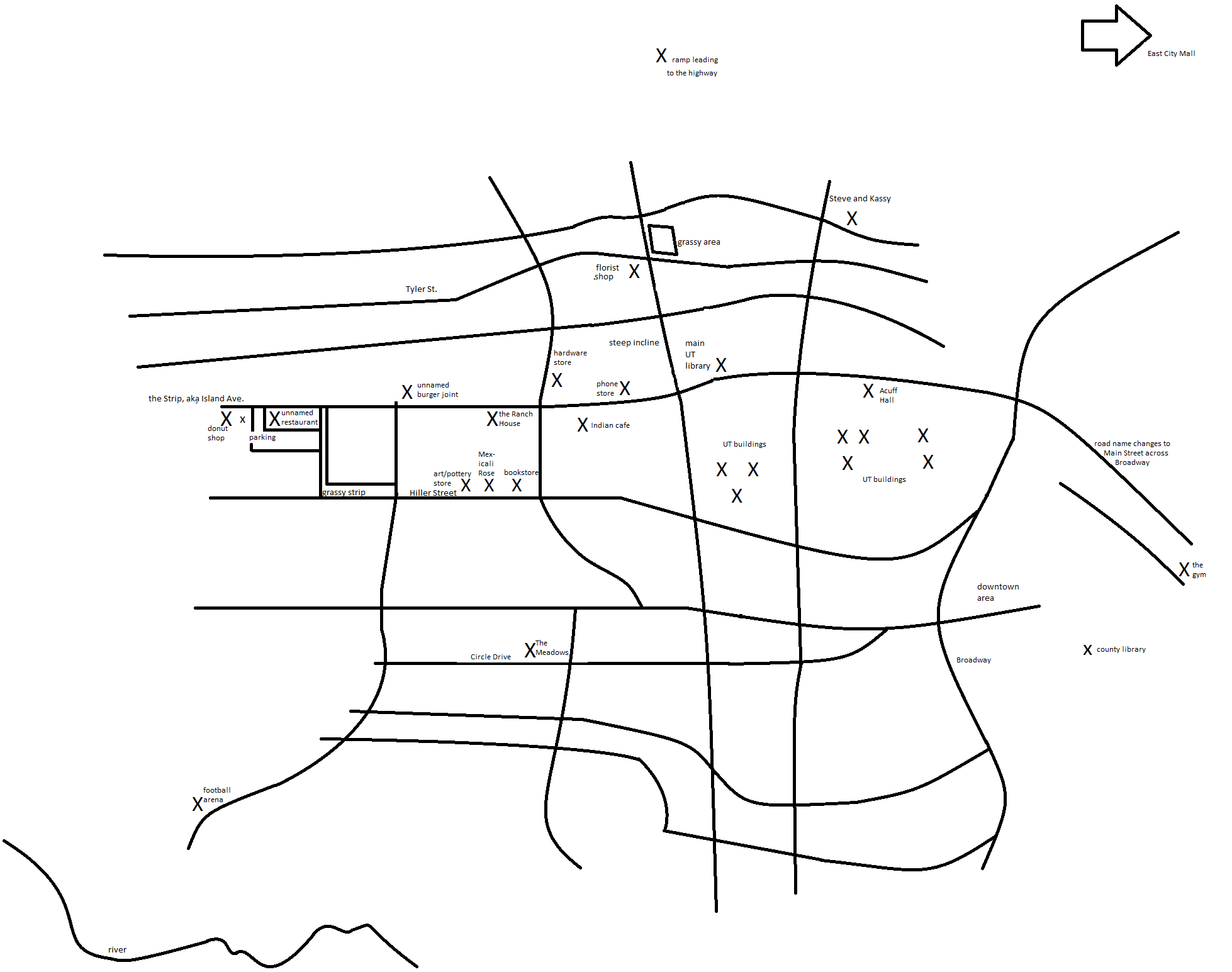 Map Of College Campus And Mal S Apt On Circle Drive
