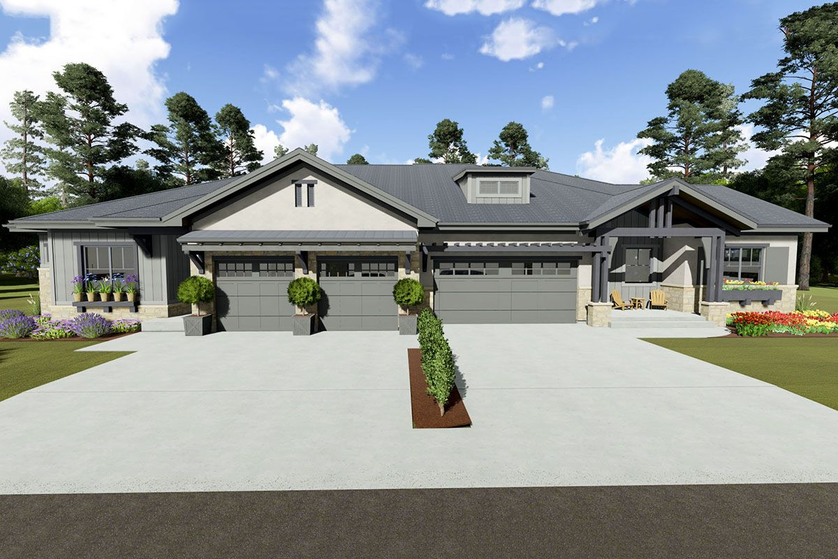 Plan 64488sc Multi Family Craftsman Plan With 2 Dissimilar Units Architectural Design House Plans Architecture Design House Plans