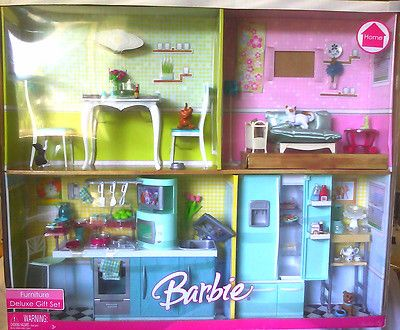 Barbie Doll Furniture Deluxe Gift Set Living Room Kitchen ...