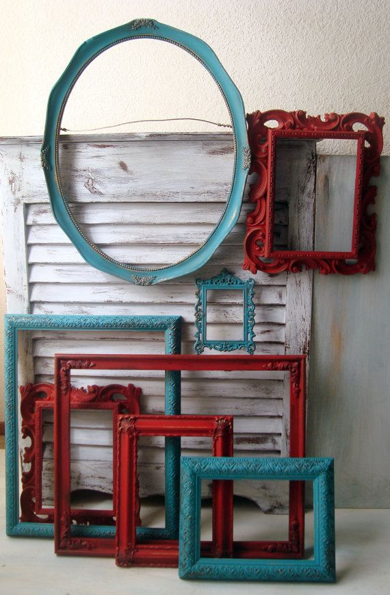 Turquoise And Red Vintage Ornate Frames Set Of 8 Aqua Painted Open Up Cycled Cottage Chic Nursery Decor Dorm Room