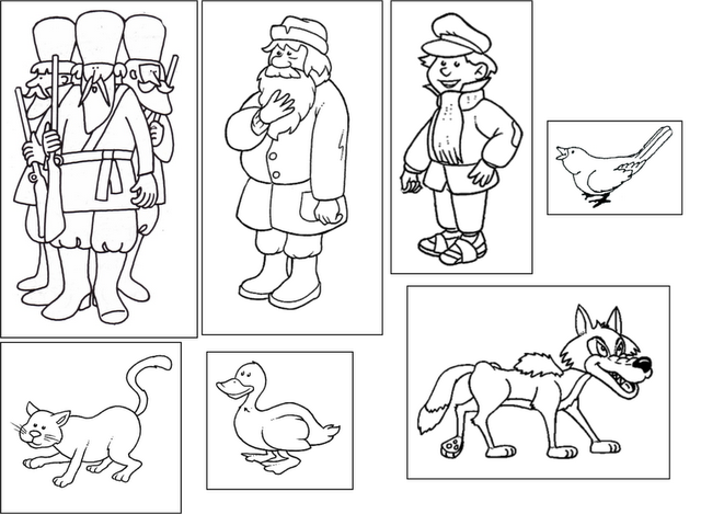 Peter And The Wolf Flashcards For Matching The Characters To The
