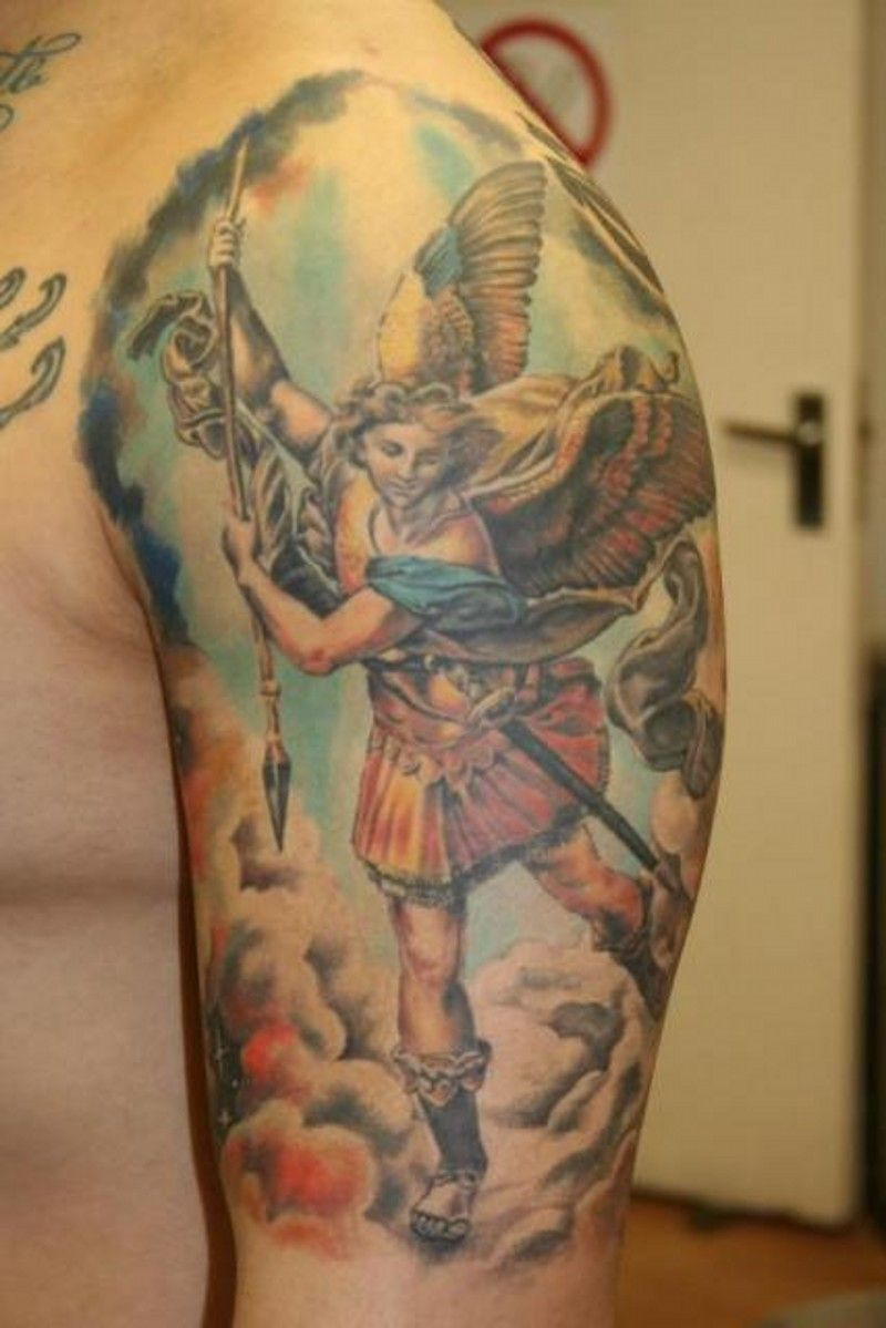 Colorful saint michael angel tattoo on shoulder saint