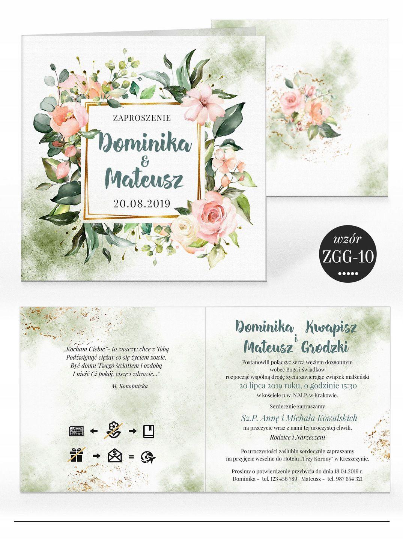 Zaproszenia ślubne Rustykalne Kwiaty Koperta 7584587654 Allegro