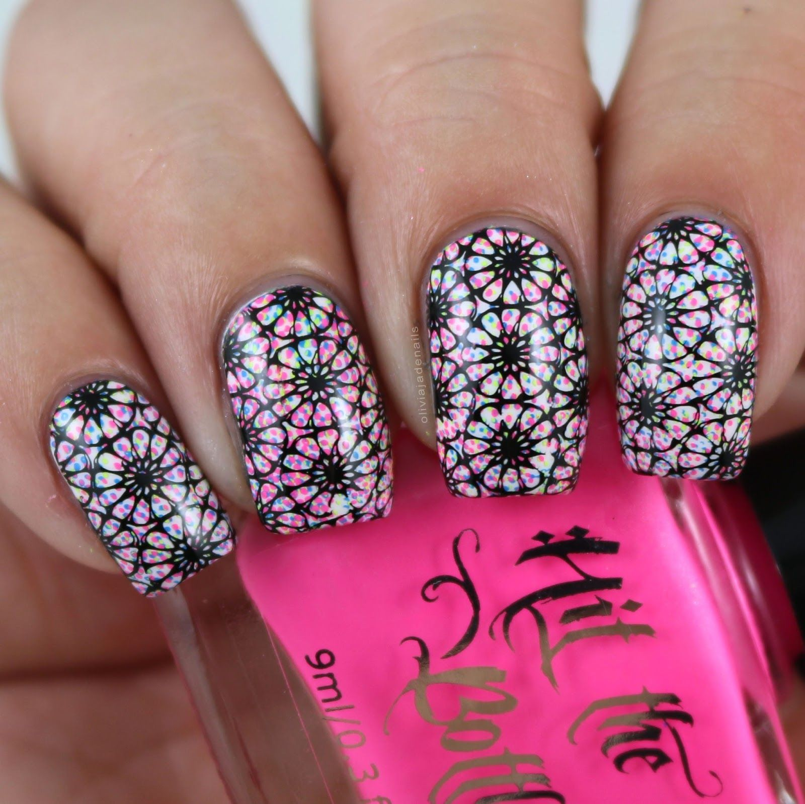 Lina Nail Art Supplies I Foil In Love 01 Stamping Plate - Swatches ...