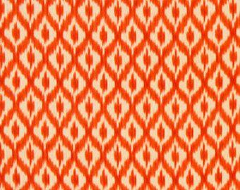Orange Linen Ikat Fabric - Ikat Drapery Material - Orange Home Decor Yardage - Orange Ikat Pillow Fabric - Ikat for Furniture Upholstery