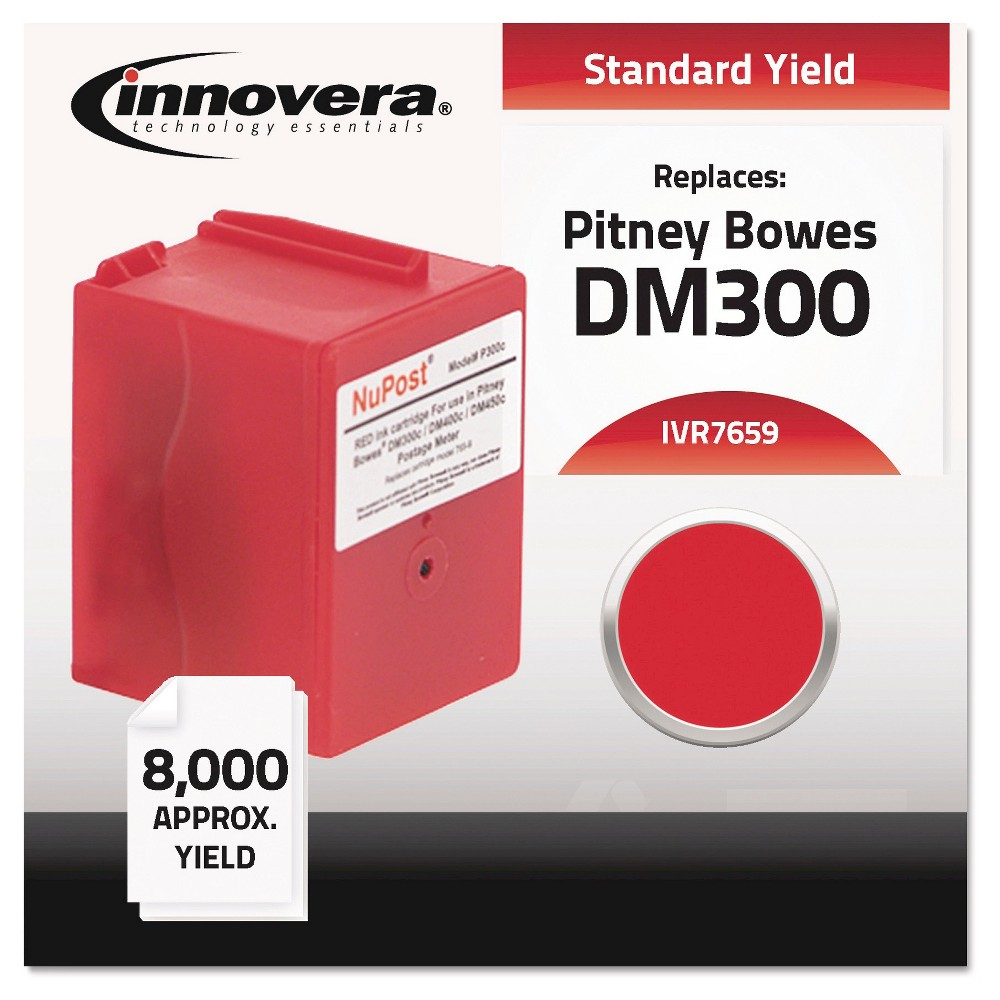 8PK Compatible Replacement for Pitney Bowes Red 765-9 inkjet cartridge