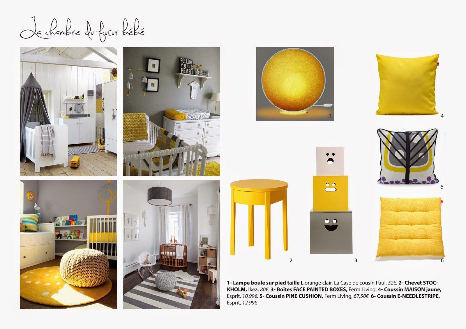 Planche tendance chambre enfant jaune et grise | planches tendance ...