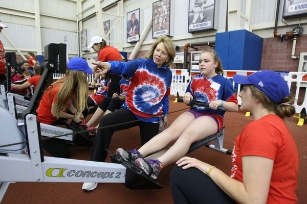 Mary Wilson works with Danielle Hussar, center, and volunteer Gabriella Congi, right, during the semi-annual Western New York Girls in Sport...