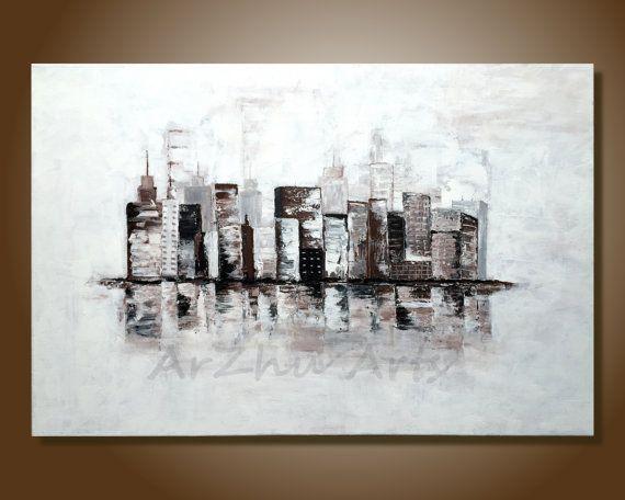 100% pintado a mano arte originales sobre lienzo Título: paisaje ...