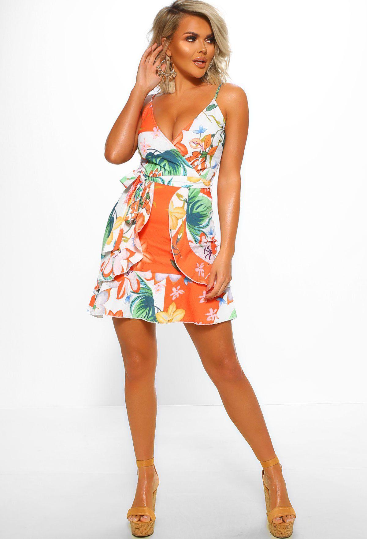 Sunny In California Orange Floral Frill Wrap Mini Dress Orange Mini Dress Dresses Mini Dress