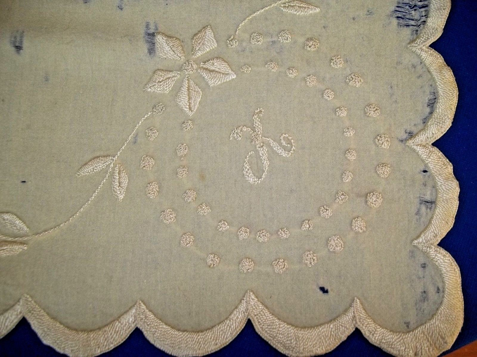 Antique us baby blanket wool flannel embroidery initial monogram