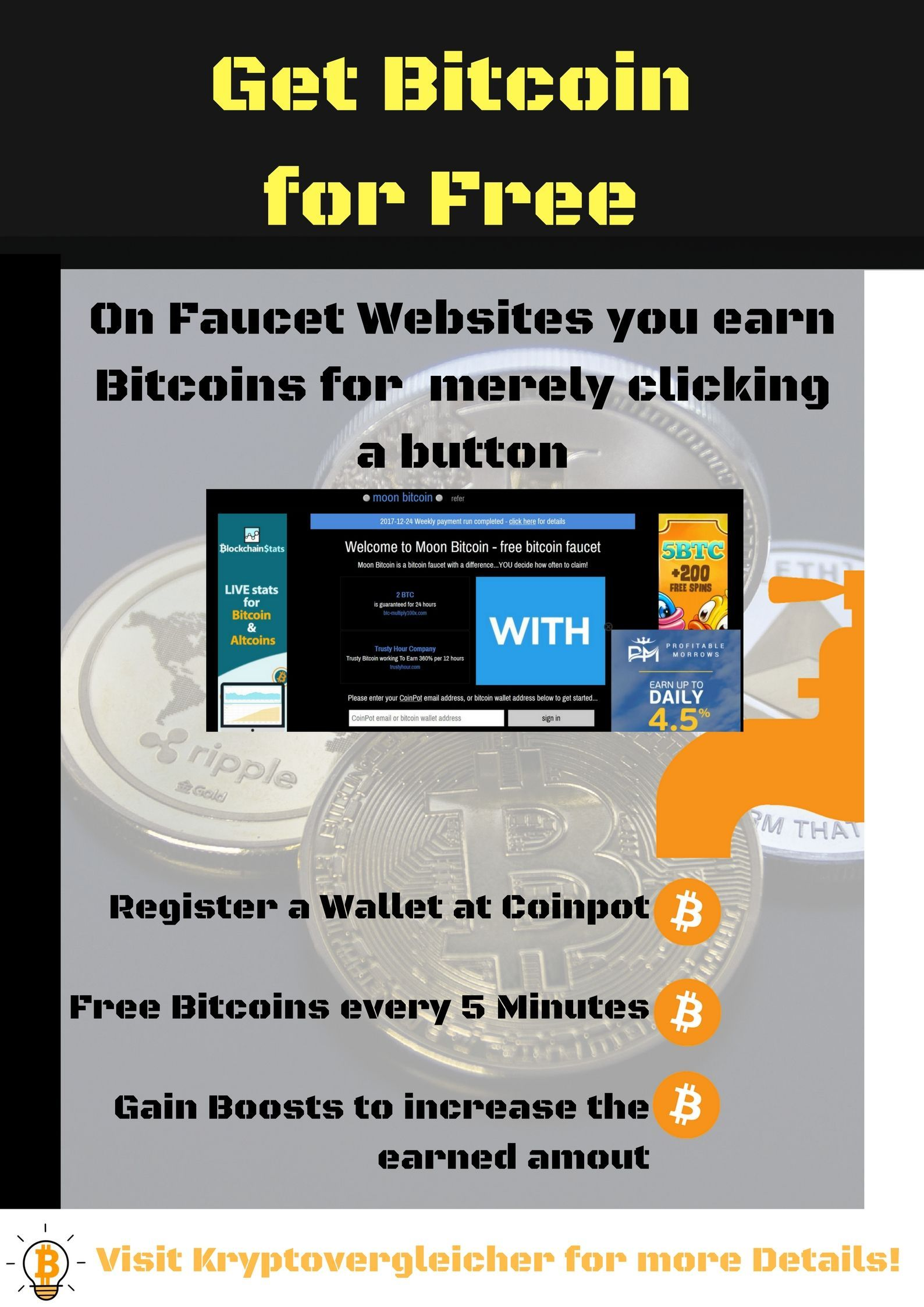 There are websites where you can get Bitcoin for simply clicking and