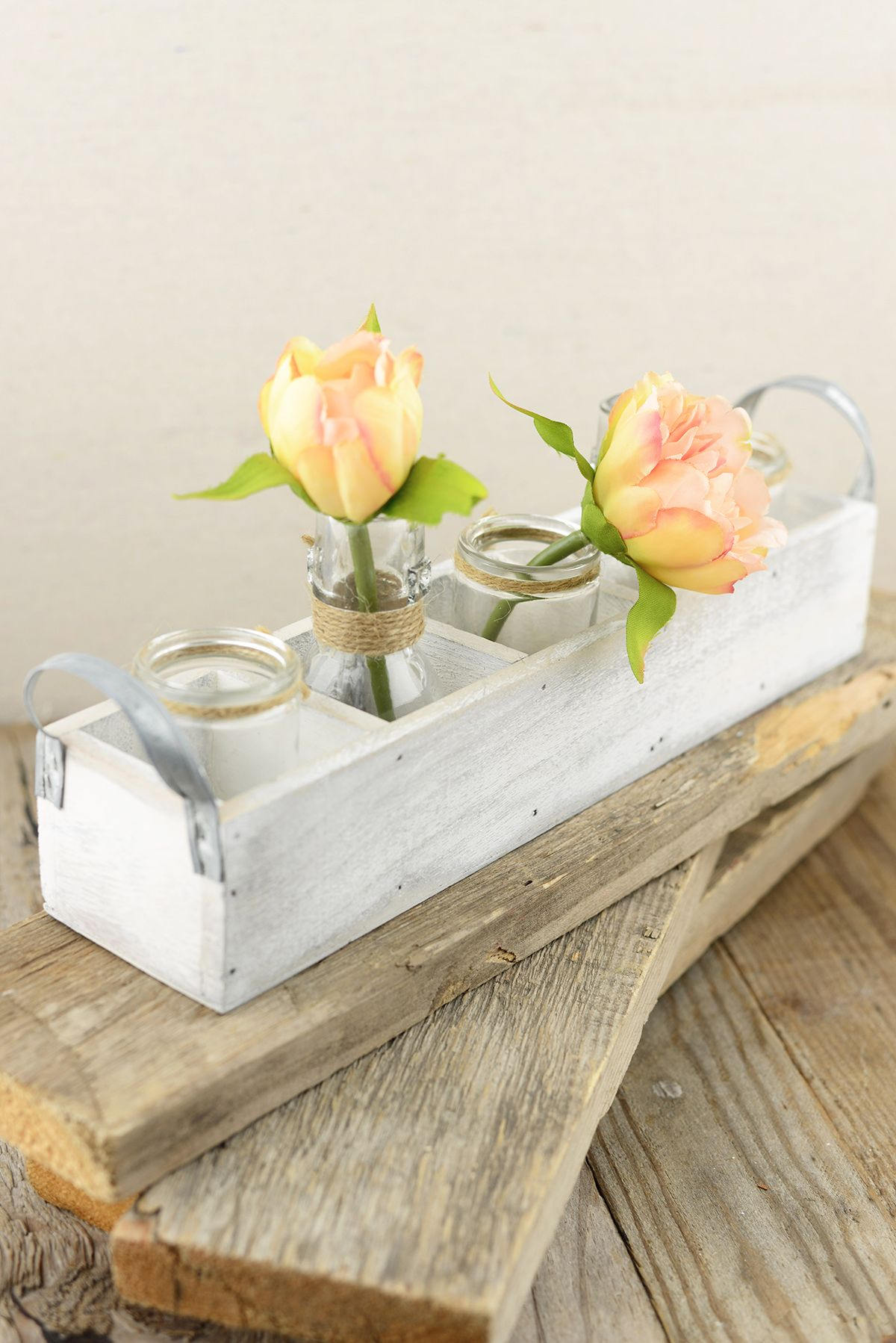 Wood Tray White With Glass Bottles Wood Box Centerpiece Wood Boxes Wood Furniture Diy