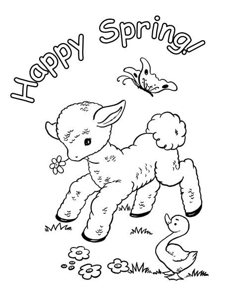 Spring Lamb Easter Coloring Sheets Easter Coloring Pages Spring Coloring Pages