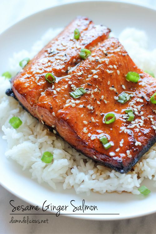 Asian sesame ginger salmon recipe - Healthy with a twist!