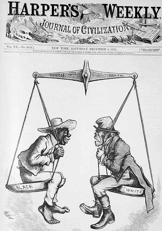 Thomas Nast cartoons of Blacks and Irish in the early